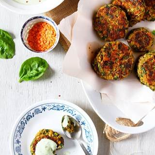 Lentil-Spinach-Eggplant Fritters With An Avocado-Herb-Yogurt Sauce