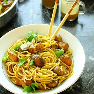 Asian Chicken Noodles With Cilantro Peanut Honey Sauce