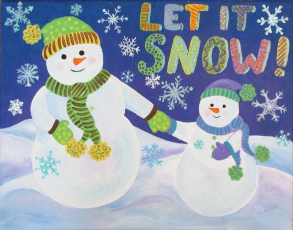 Snowman Acrylic Painting Tutorial