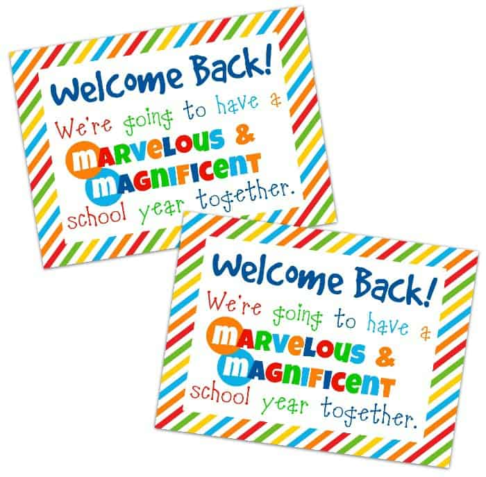 Student Welcome Gift {Free Printable} - Happy-Go-Lucky - free printable welcome back sign