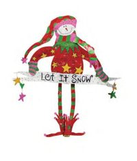 Snowman with Let It Snow Banner Christmas Door Decoration ...