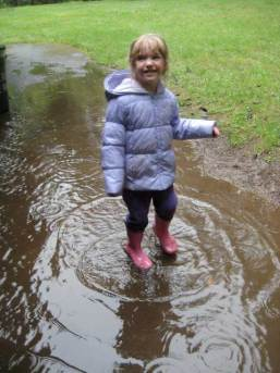 Rachel in a puddle!
