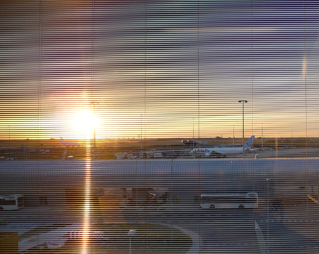 Citizen-M-Hotel-Amsterdam-Schiphol-Airport Window with Setting Sun