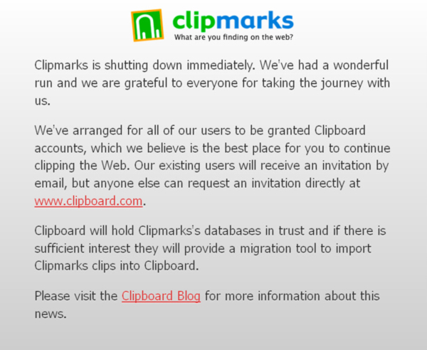 Clipmarks Shutting Down