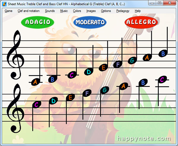 Read music notes with Sheet Music Treble Clef and Bass Clef HN