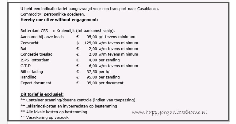 EMIGRATIE EN KOSTEN - Happy Organized Home - 125 kosten