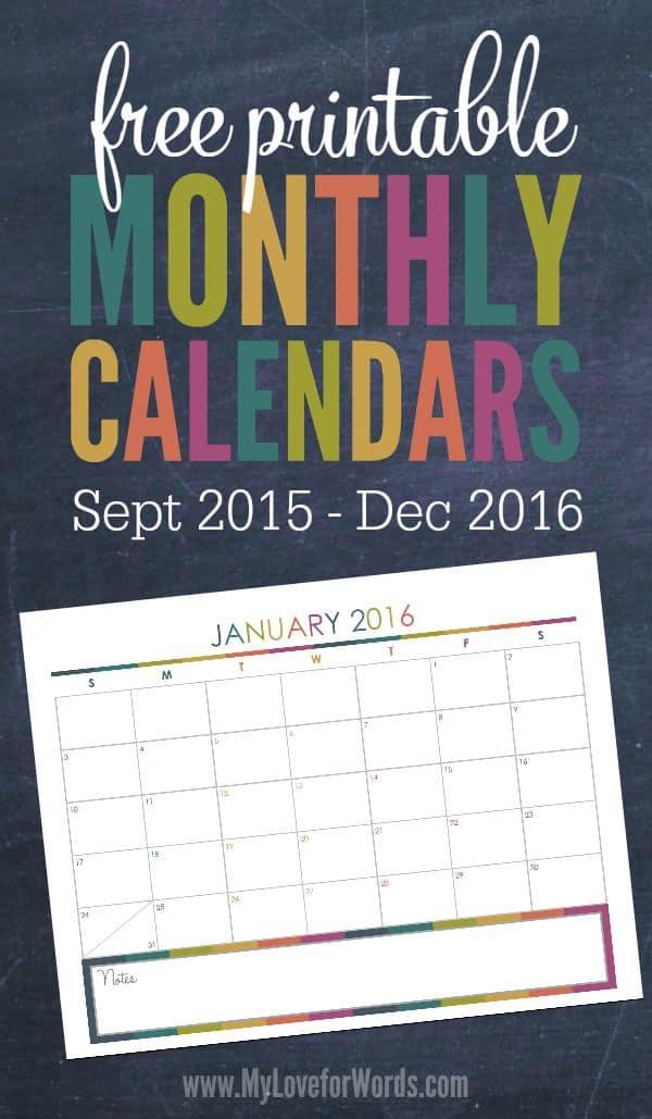 Free Printable 2016 Monthly Calendars - free printable monthly calendar