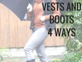Layer up your vests and boots for colder weather. Pair with a hoodie and rain boots, or flannel and lace up boots.