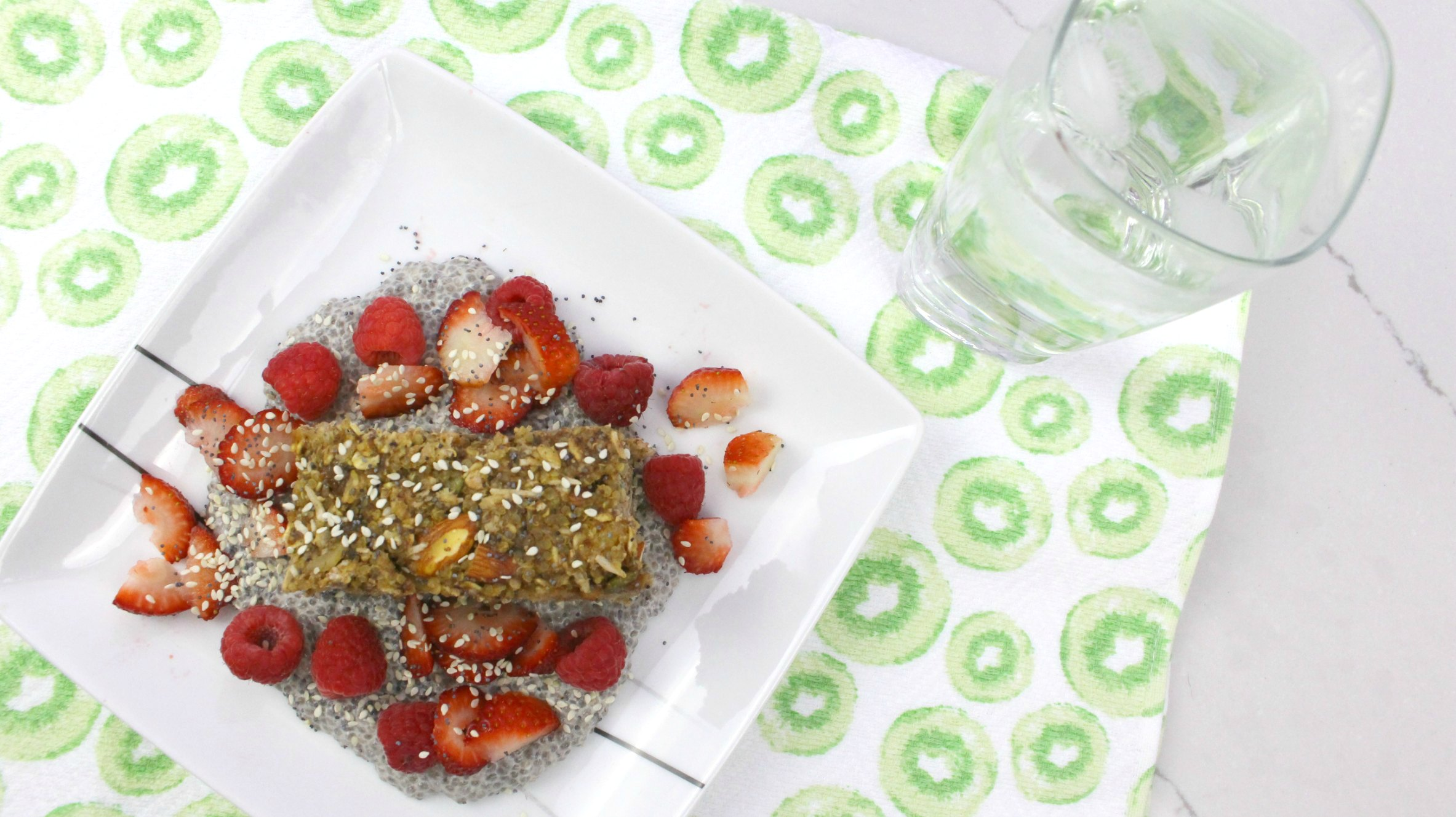 Delicious chia pudding with a healthy make ahead breakfast bar and some berries. Great lactation boosting recipe for new moms. Dairy free and vegan breakfast.
