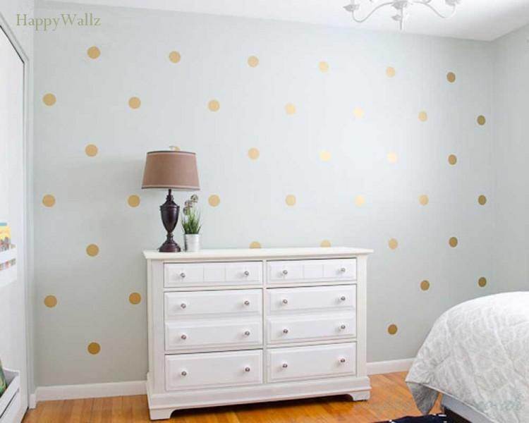 Girl Nursery Wallpaper Uk Gold Polka Dots Spots Wall Sticker For Nursery And Home