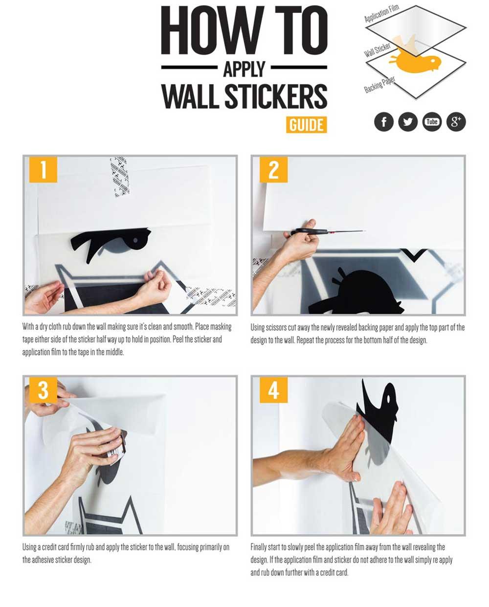 Wall Art Sticker Instructions - Vinyl wall decals application instructions