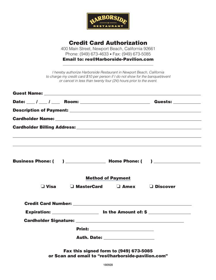 Credit Card Authorization - Harborside Pavilion