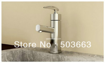 Nickel Brushed Deck Mounted Bathroom Sink Basin Mixer Tap