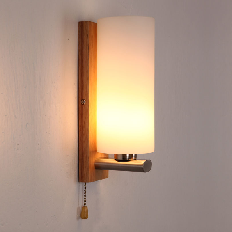 brief glass wall lamp bed