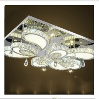 modern led flush mount rectangular crystal ceiling lights