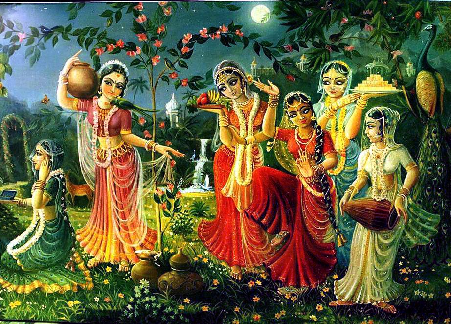 Lord Krishna With Gopis 3d Wallpaper The Gopis Worship Goddess Katyayani Durga