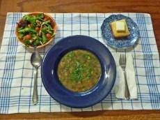 Soup, salad and cornbread.