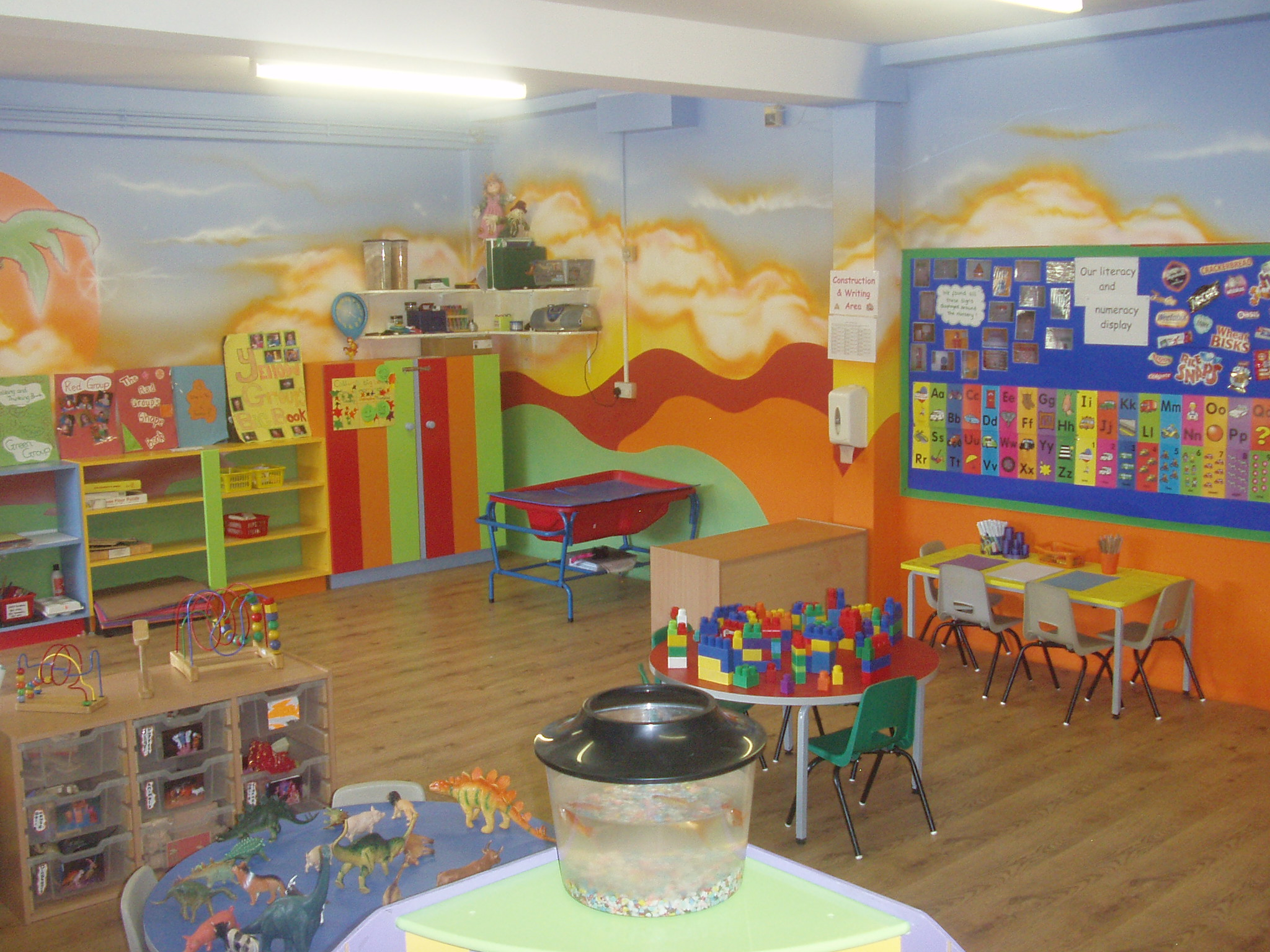 Cute preschool classroom it s a little too bright for my taste the just switch out the tables chairs and wall color and its perfect