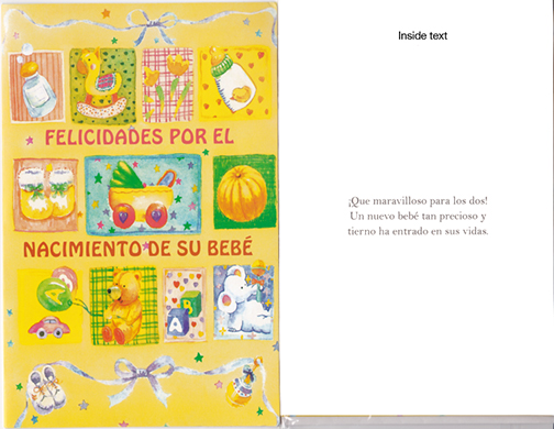Spanish Baby Congratulations card