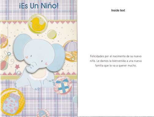 Spanish Baby Boy Card