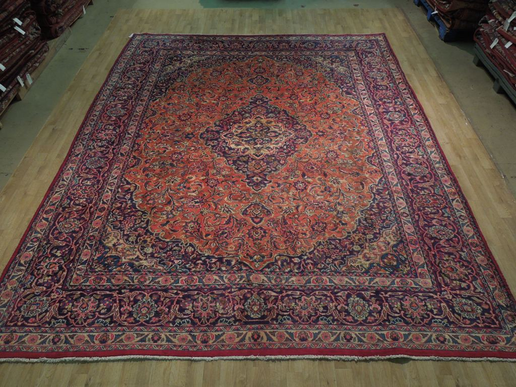 Orange Navy Blue Kashan Rug 1039 X 1239 Persian Hand
