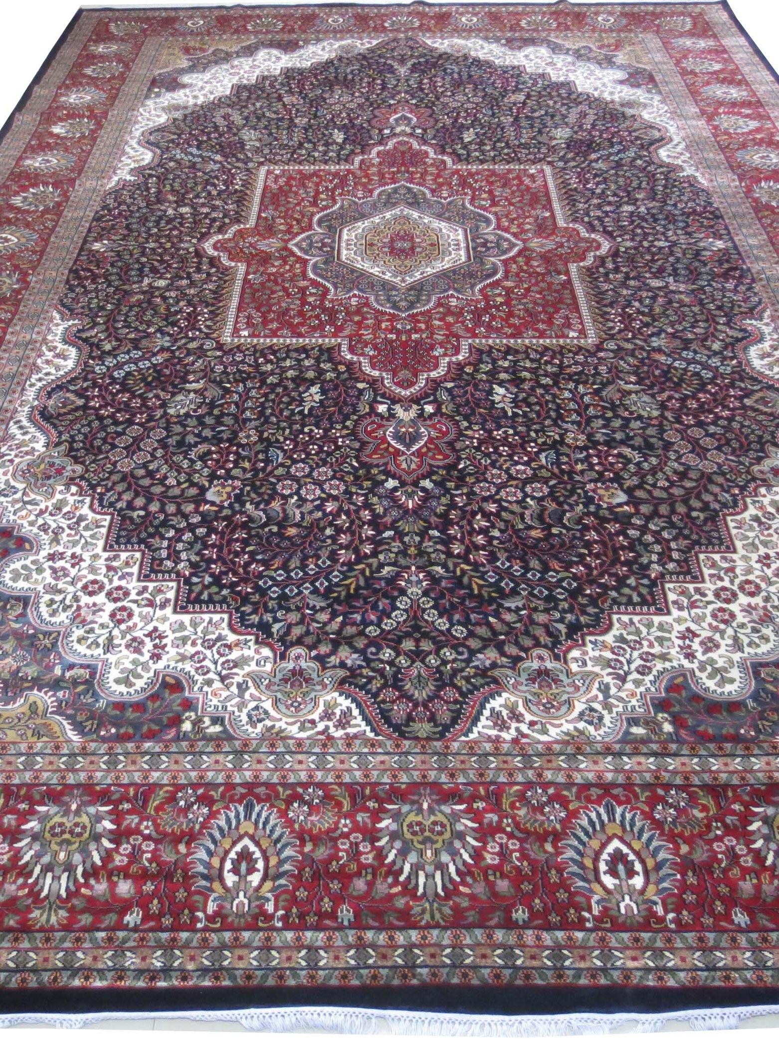 Dark Blue Silk Persian Design Rugs For Sale Indian Jammu