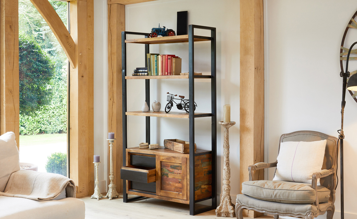Mali Reclaimed Pine Large Bookcase With Storage Reclaimed