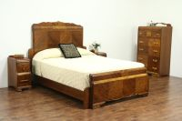 Waterfall Art Deco Vintage Bedroom Set, Queen Size Bed