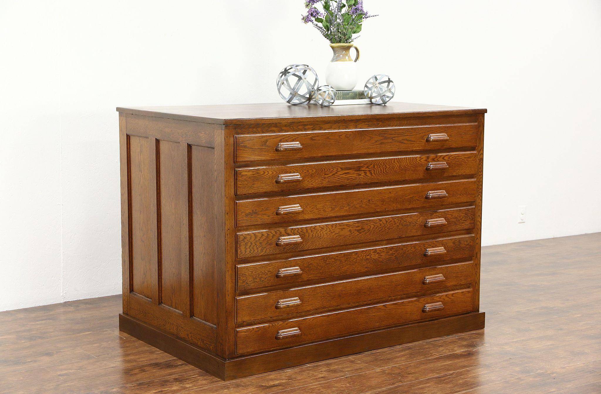 Sold Oak 1910 Antique 7 Drawer Map Chest Or Drawing File