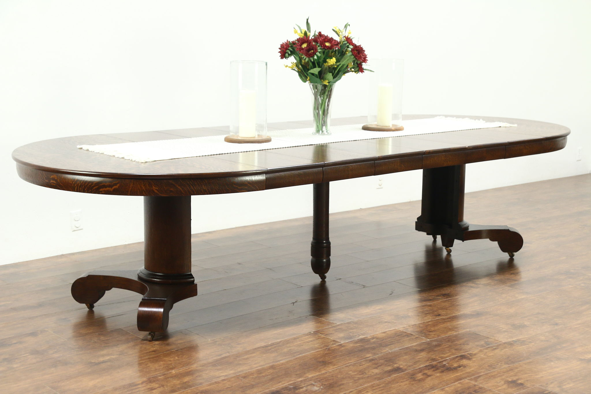Empire Round 54quot Antique 1900 Oak Dining Table 6 Leaves