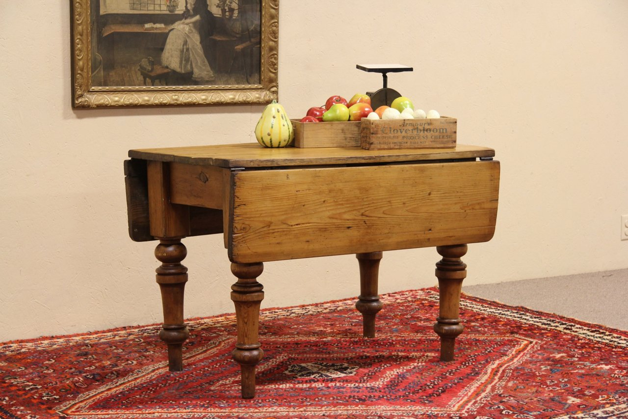 Sold English Country Pine 1860 Antique Dropleaf Console