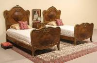 SOLD - French Bombe Bedroom Set, 2 Twin Bed & Nightstand ...