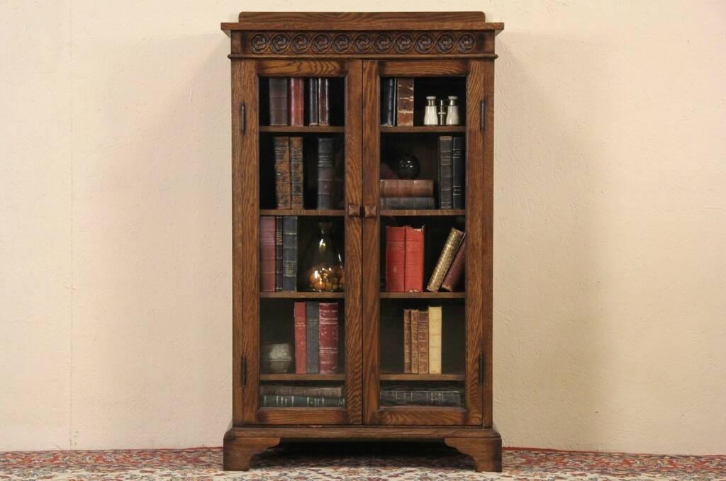 Sold Oak Vintage Bookcase Bathroom Or Display Cabinet