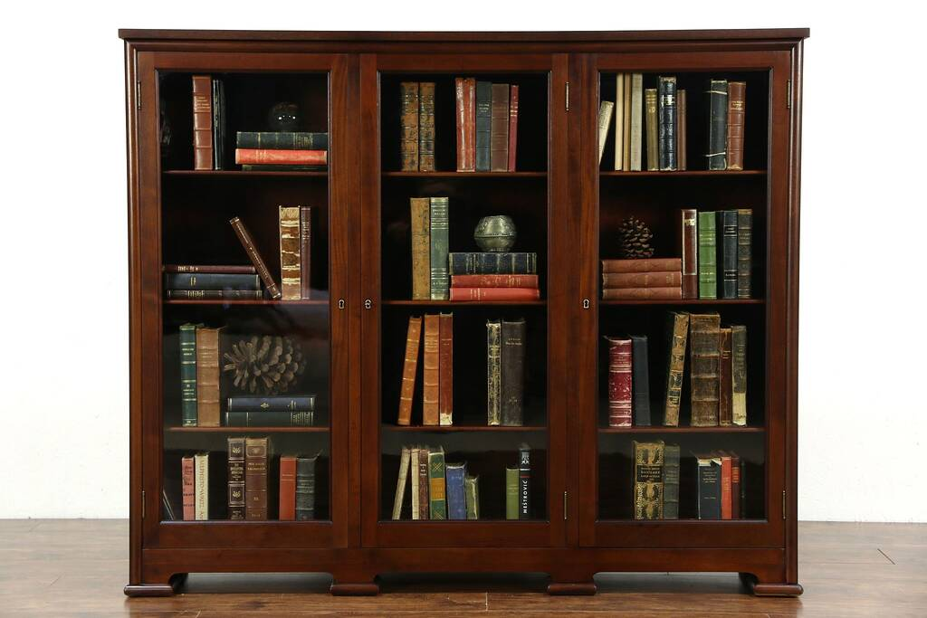 Sold Triple Mahogany 1910 Antique Library Bookcase 12
