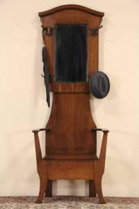 SOLD - Oak 1900 Antique Hall Stand, Coat Rack, Mirror ...