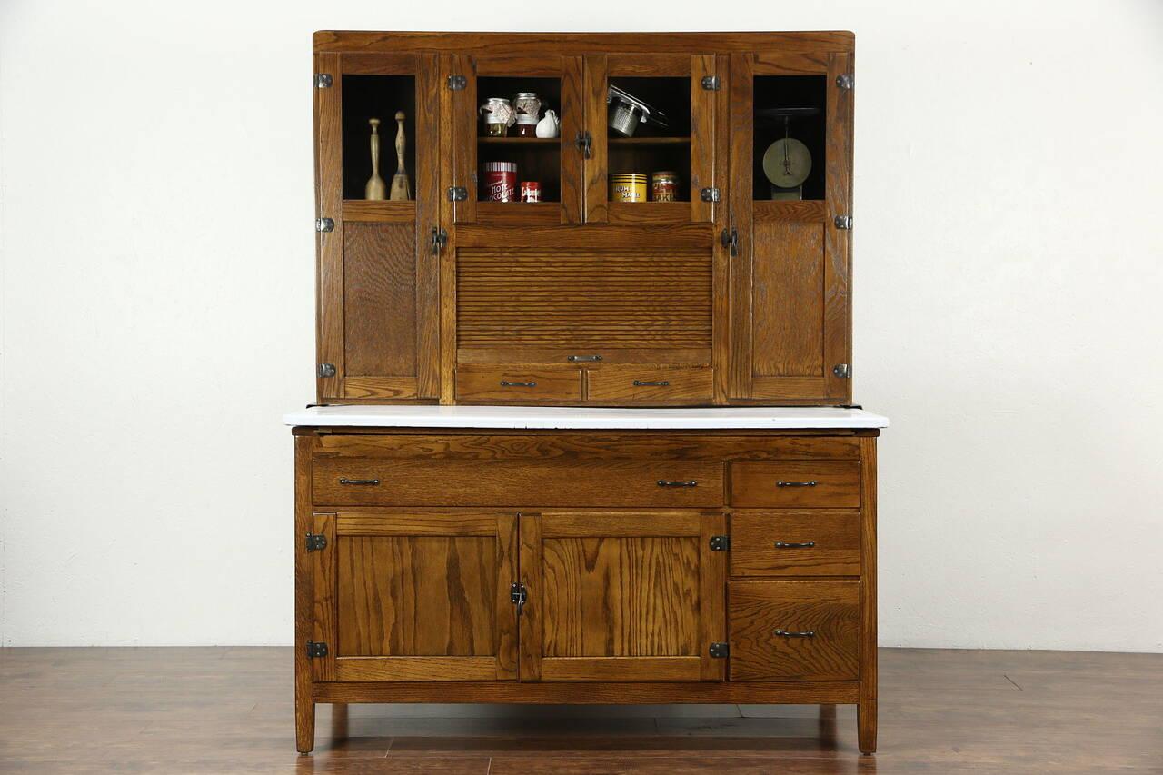 Hoosier Oak Kitchen Pantry Cupboard, Roll Top, 1915