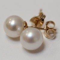 9ct Gold Pearl Stud Earrings 9ct Gold 8mm Pearl Stud ...