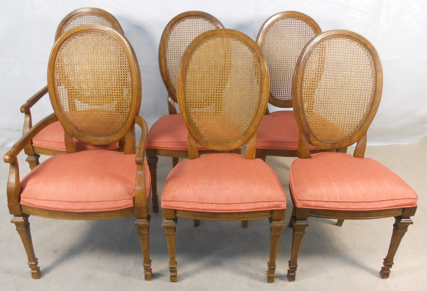 Set Of Six Oval Cane Back Walnut Dining Chairs Sold