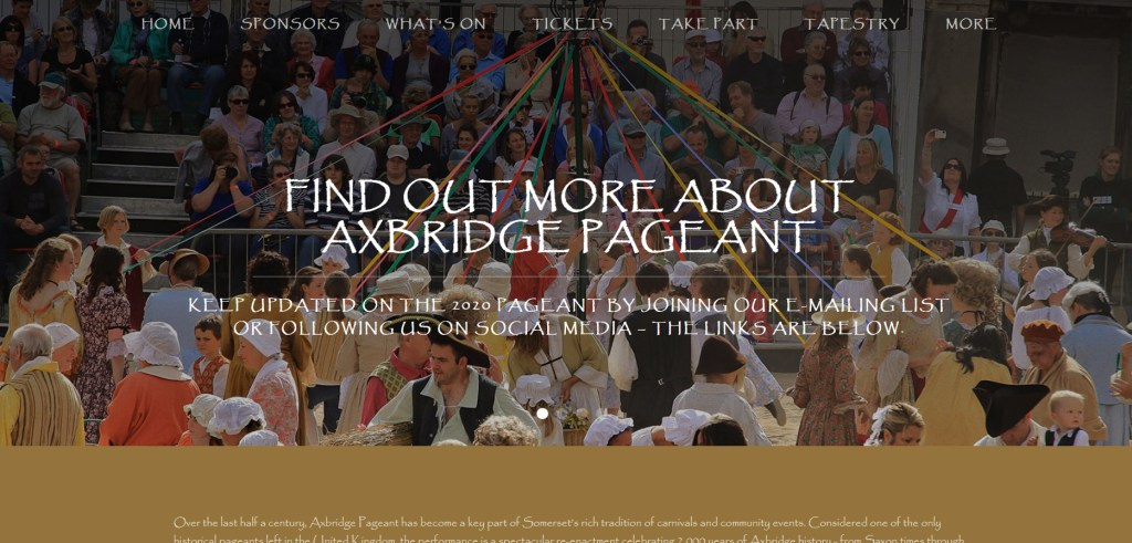 AXBRIDGE NEWS: the website for the 2020 Axbridge Pageant is now live