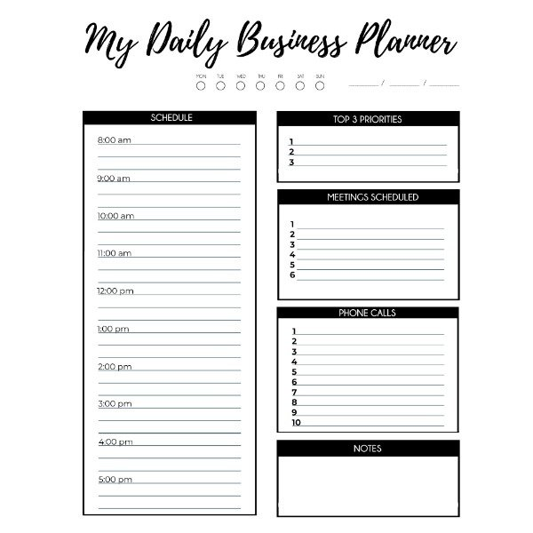 My Daily Business Planner - Black Hatched Designs