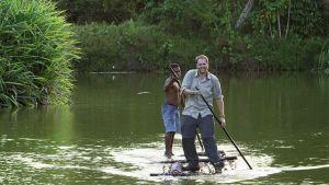 In order to get to a remote village on the island of Viti Levu in Fiji, Josh Gates utilizes a bili bili bamboo raft.