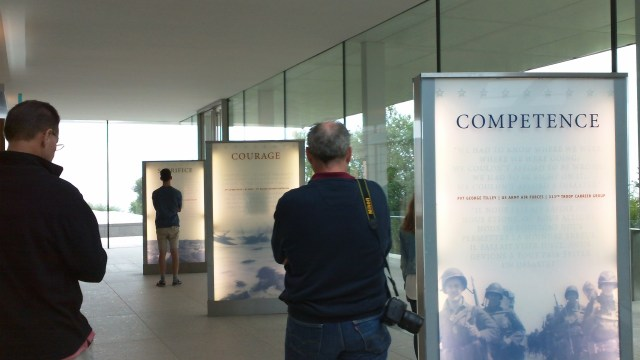 Normandy American Cemetery visitor center entrance exhibits