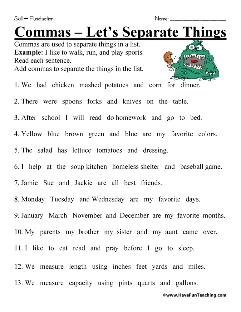 Comma Worksheet Have Fun Teaching - comma and and