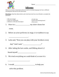 Idiom Worksheet - Free worksheets library - Download and print