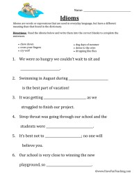 Idiom Worksheets