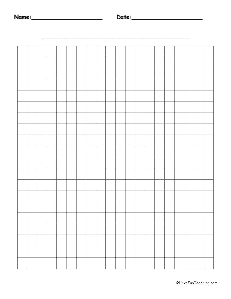20 by 20 Blank Graph Paper Have Fun Teaching
