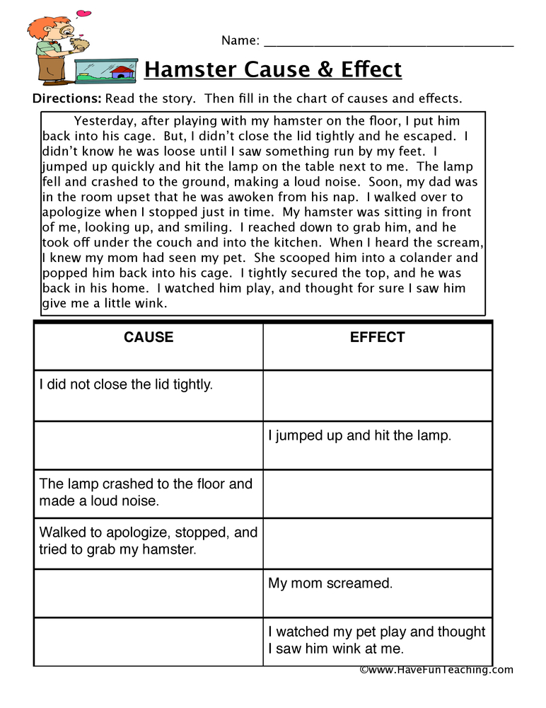 Hamster Cause and Effect Worksheet Have Fun Teaching