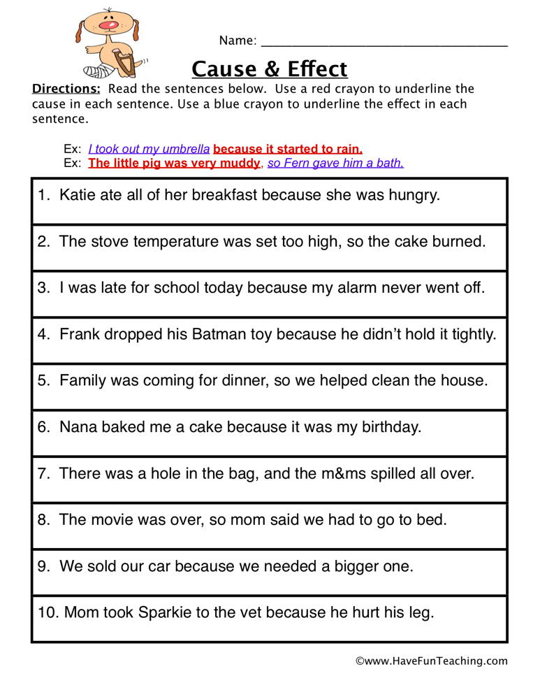 Cause and Effect Worksheet - Find it Have Fun Teaching