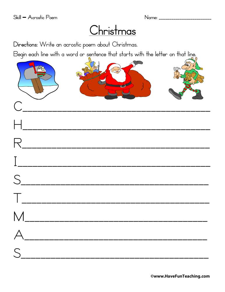 Christmas Acrostic Poem Worksheet Have Fun Teaching