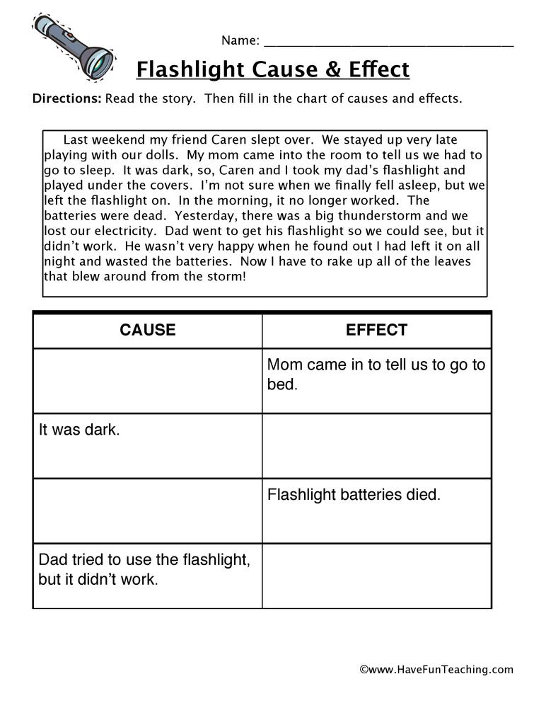 Flashlight Cause and Effect Worksheet Have Fun Teaching
